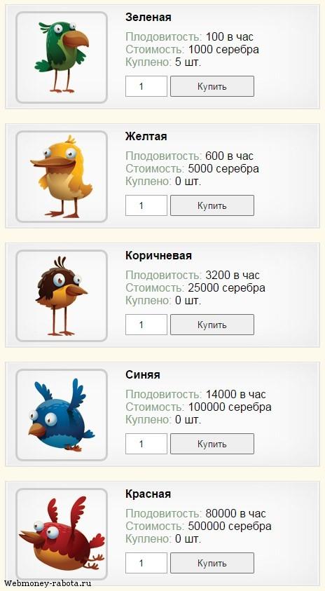 Заработок на игре Rich Birds